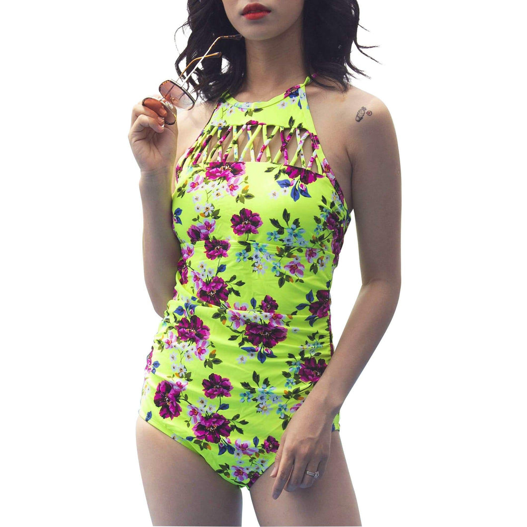 ozency Swimming Suits S / Ellow-pink White & Blue Flower Ozency High Neck One Piece Bikini for Women | Waist Braided Bathing Suit (Textures Cross)