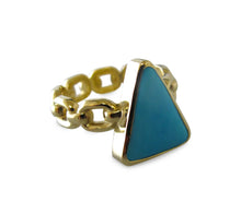 Load image into Gallery viewer, Turquoise Triangle Chain Ring