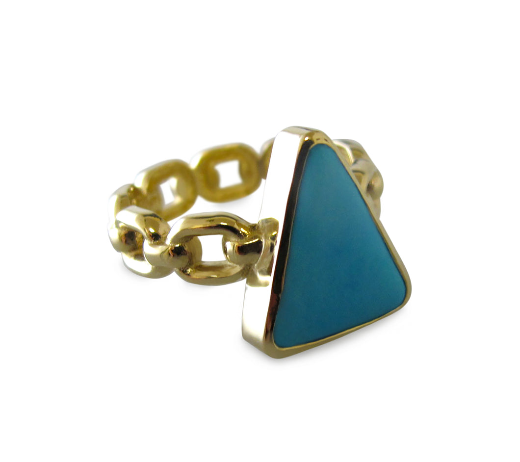 Turquoise Triangle Chain Ring