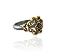 Load image into Gallery viewer, Rustic Rosette Ring with Blue Sapphire