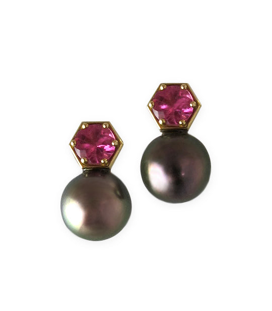 Tahitian Peacock Pearls and Tourmaline Studs