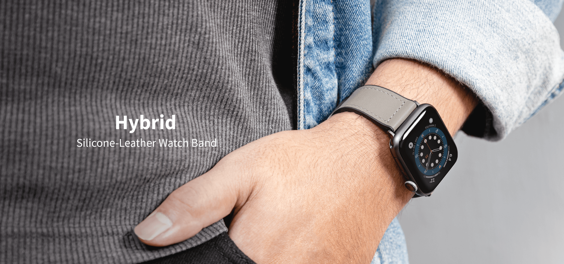 Hybrid Silicone-Leather Watch Band