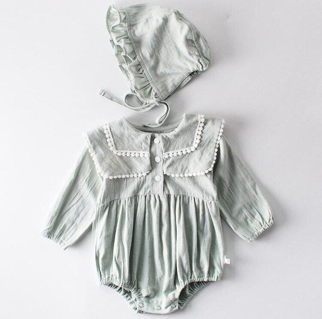 Baby Jumpsuit and Hat - 2 Colors