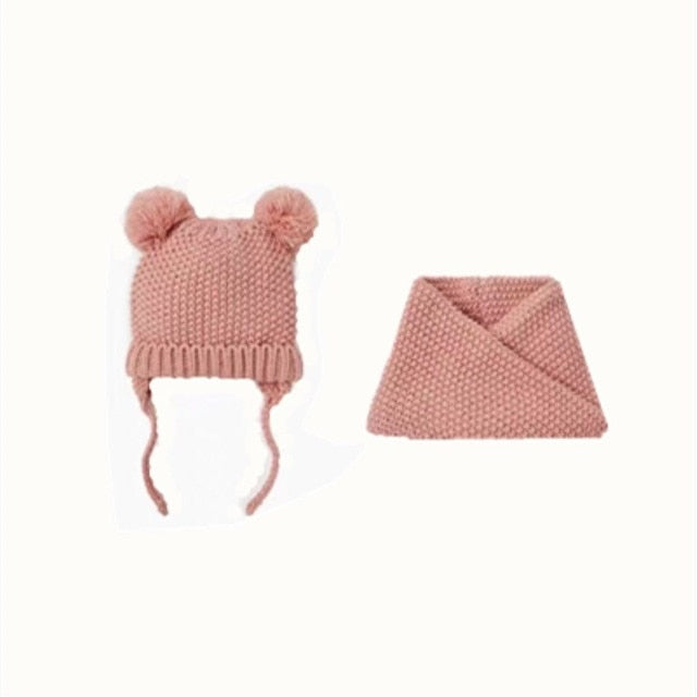 Knitted Hat and Scarf Set - 2 colors