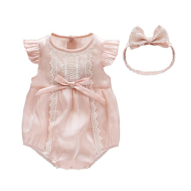 Baby Romper and Hairband Set