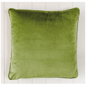 Indoor Cushion Feather Insert Olive Green Velvet