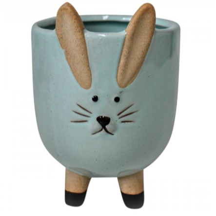 Planter Jingles Rabbit Aqua Lrg