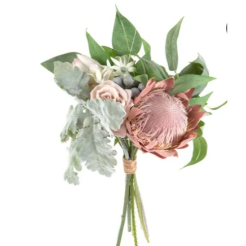 Protea Rose Dusty Miller Mix Bouquet Pink