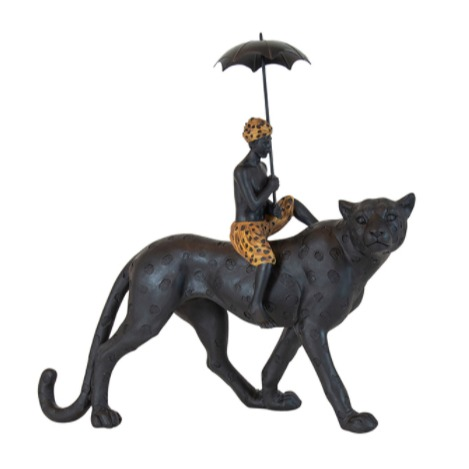 Rhodesia Resin Leopard Boy On Leopard