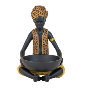Rhodesia Resin Leopard Man With Bowl