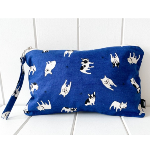 zippered Pouch Blue Frenchie Dog