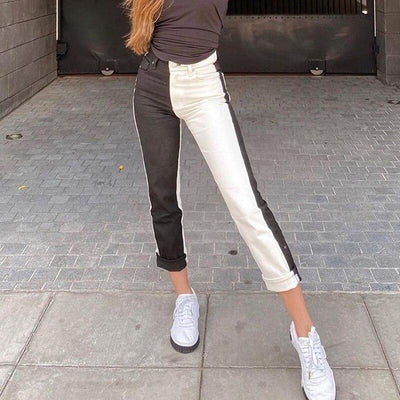 Casual Patchwork Slim Straight Long Pants