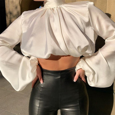 Chic Satin High Neck Blouse