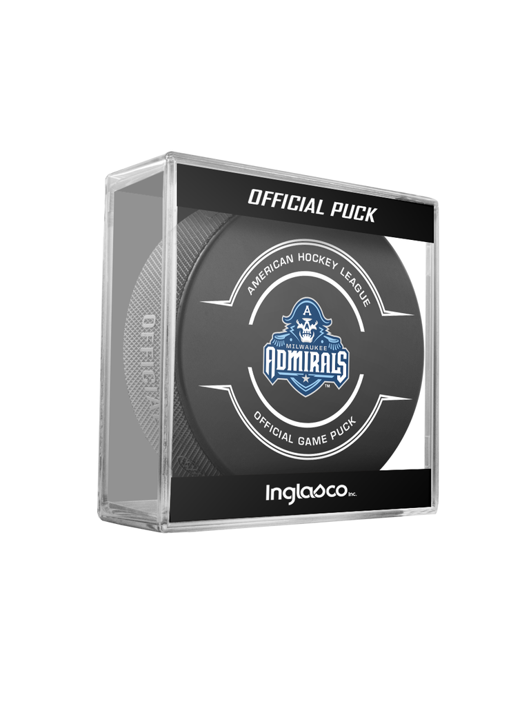 AHL Milwaukee Admirals Official Game Hockey Puck In Cube