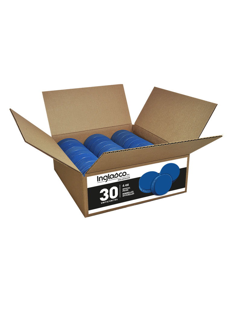 Box Of 30 Blue Junior 4oz Hockey Pucks
