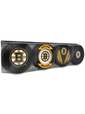 <transcy>Lot de 4 rondelles de hockey souvenir des Bruins de Boston de la LNH</transcy>