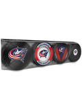 <transcy>NHL Columbus Blue Jackets Lot de 4 rondelles de hockey souvenir</transcy>