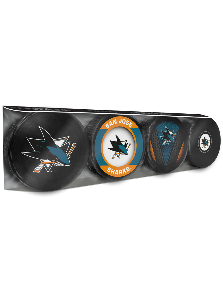 NHL San Jose Sharks Souvenir Hockey Puck Collector's 4-Pack