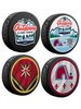 NHL Lake Tahoe Outdoor Event February 20th 2021. Golden Knights vs Avalanche Souvenir Hockey Puck Collector's 4-Pack