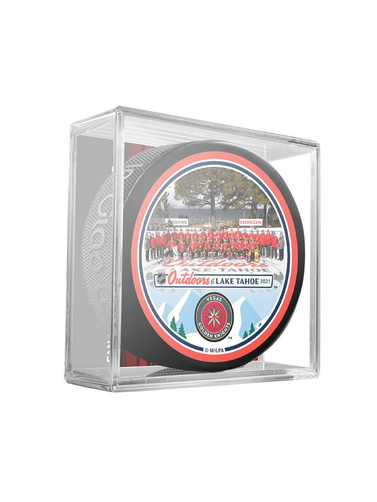 NHL Lake Tahoe Outdoor Event February 20th 2021. Vegas Golden Knights Team Photo Official Souvenir Puck In Cube