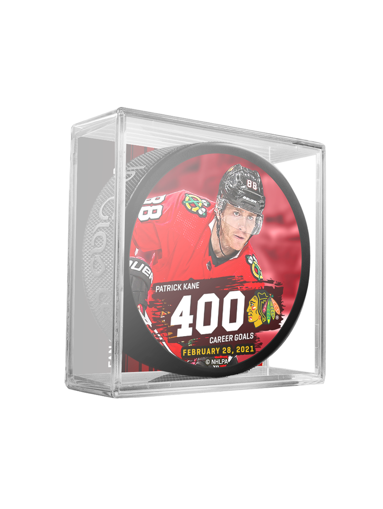 NHLPA Patrick Kane #88 Chicago Blackhawks 400 Goals Scored Souvenir Hockey Puck In Cube