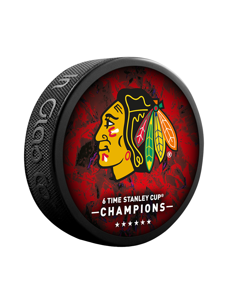 NHL Chicago Blackhawks 6 Time Stanley Cup Champions: 1934 / 1938 / 1961 / 2010 / 2013 / 2015 Commemorative Collector Puck