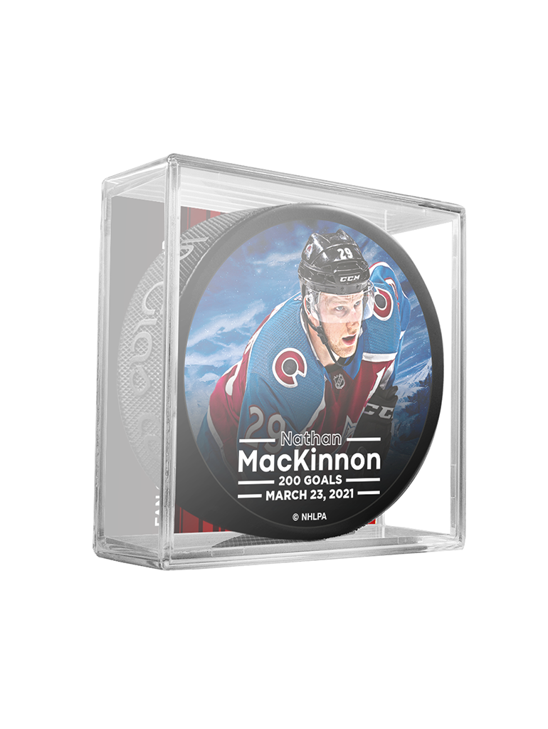 NHLPA Nathan MacKinnon #29 Colorado Avalanche 200 Goals Scored Souvenir Hockey Puck In Cube