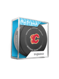 NHL Calgary Flames 2021 Official Game Hockey Puck In Cube - New Fan Blue