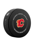 NHL Calgary Flames 2021 Official Game Hockey Puck In Cube - New Fan Pink
