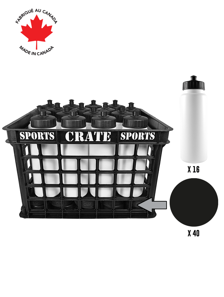 Coach Crate With Pull-Top Bottles: Shop Canadian! Includes 1 Black Sports Crate With 40 Black Canadian Pro 6oz Hockey Pucks And 16 White 1L Tallboy Bottles