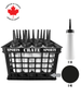 Coach Crate With Straw Pull-Top Bottles: Shop Canadian! Includes 1 Black Sports Crate With 40 Black Canadian Pro 6oz Hockey Pucks And 16 White 1L Tallboy Bottles