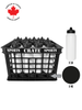 Coach Crate With Membrane-Top Bottles: Shop Canadian! Includes 1 Black Sports Crate With 40 Black Canadian Pro 6oz Hockey Pucks And 16 White 1L Tallboy Bottles