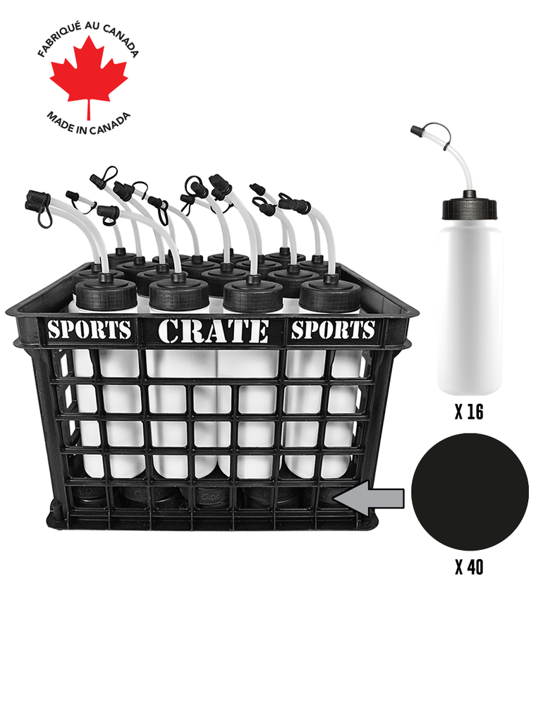 Coach Crate With Noodle Straw-Top Bottles: Shop Canadian! Includes 1 Black Sports Crate With 40 Black Canadian Pro 6oz Hockey Pucks And 16 White 1L Tallboy Bottles