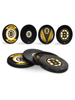 NHL Boston Bruins Hockey Puck Drink Coasters (4-Pack) In Cube