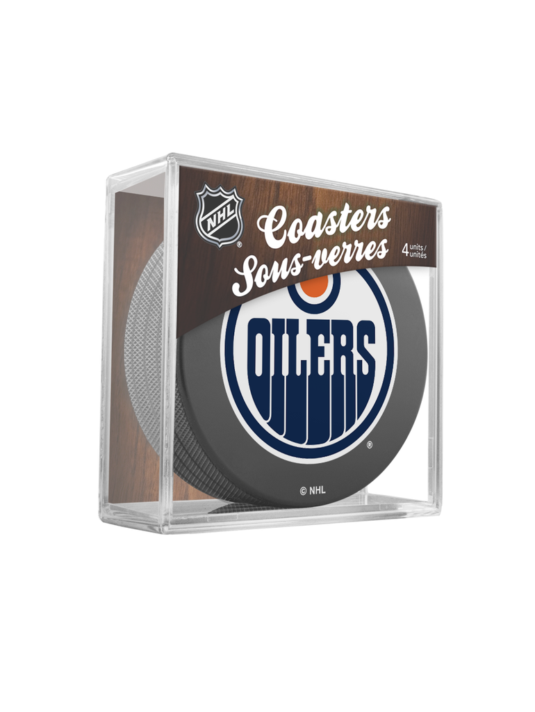NHL Edmonton Oilers Hockey Puck Drink Coasters (4-Pack) In Cube