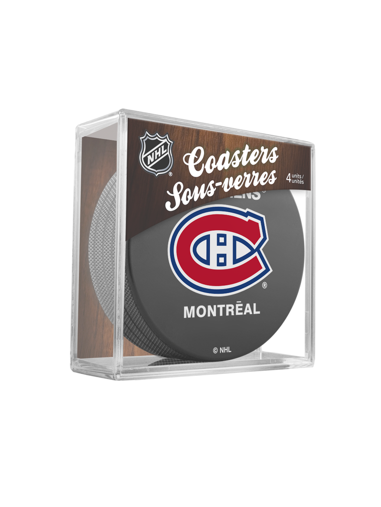 NHL Montreal Canadiens Hockey Puck Drink Coasters (4-Pack) In Cube