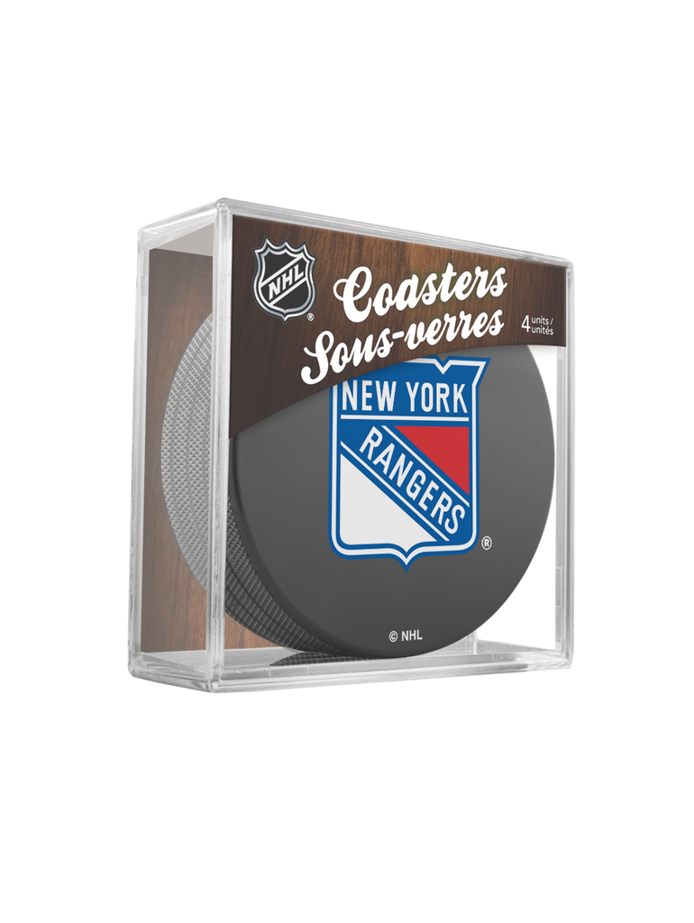 NHL New York Rangers Hockey Puck Drink Coasters (4-Pack) In Cube