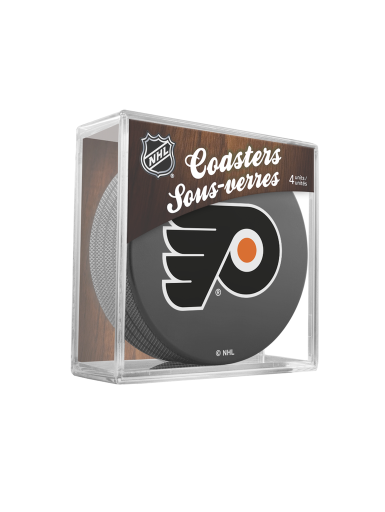 NHL Philadelphia Flyers Hockey Puck Drink Coasters (4-Pack) In Cube