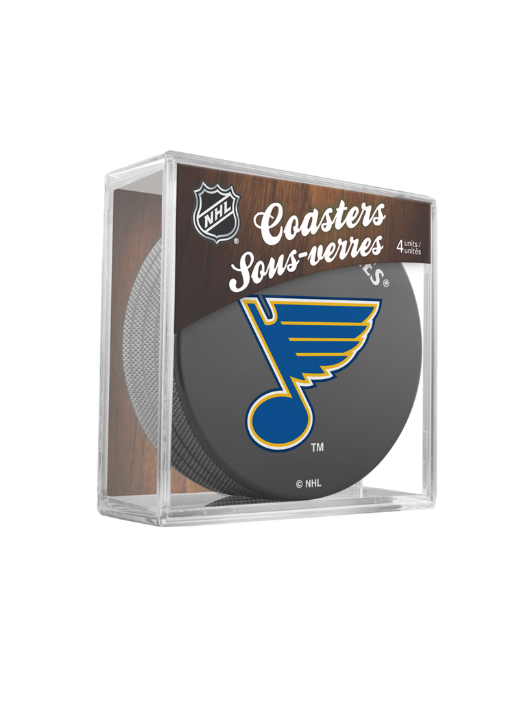 NHL St. Louis Blues Hockey Puck Drink Coasters (4-Pack) In Cube