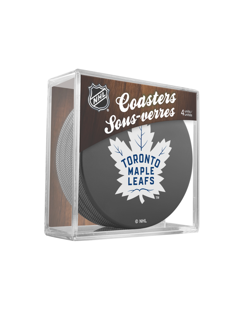 NHL Toronto Maple Leafs Hockey Puck Drink Coasters (4-Pack) In Cube
