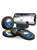 NHL Buffalo Sabres Ultimate Fan 3-Pack. Includes: 1 NHL Official Classic Souvenir Hockey Puck / 4 Coasters / 1 Media Device Holder