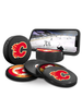 NHL Calgary Flames Ultimate Fan 3-Pack. Includes: 1 NHL Official Classic Souvenir Hockey Puck / 4 Coasters / 1 Media Device Holder