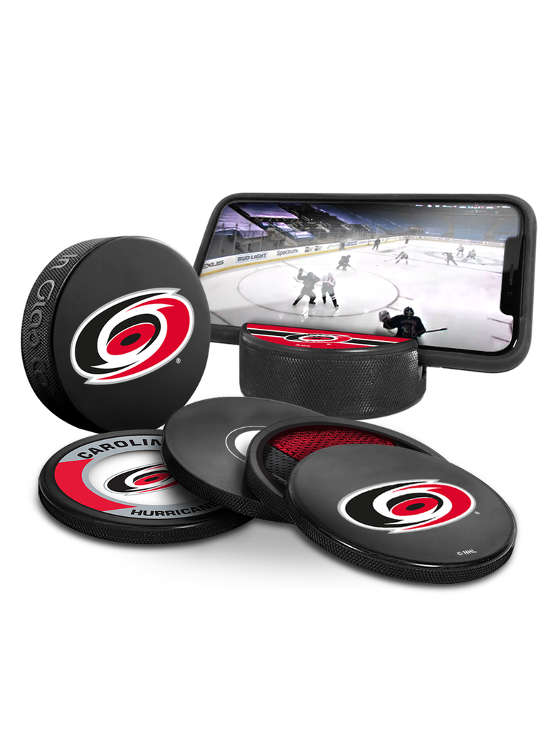 NHL Carolina Hurricanes Ultimate Fan 3-Pack. Includes: 1 NHL Official Classic Souvenir Hockey Puck / 4 Coasters / 1 Media Device Holder