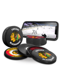 NHL Chicago Blackhawks Ultimate Fan 3-Pack. Includes: 1 NHL Official Classic Souvenir Hockey Puck / 4 Coasters / 1 Media Device Holder