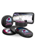NHL Colorado Avalanche Ultimate Fan 3-Pack. Includes: 1 NHL Official Classic Souvenir Hockey Puck / 4 Coasters / 1 Media Device Holder