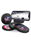 NHL Columbus Blue Jackets Ultimate Fan 3-Pack. Includes: 1 NHL Official Classic Souvenir Hockey Puck / 4 Coasters / 1 Media Device Holder