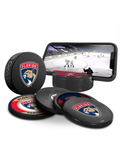 NHL Florida Panthers Ultimate Fan 3-Pack. Includes: 1 NHL Official Classic Souvenir Hockey Puck / 4 Coasters / 1 Media Device Holder