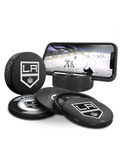 NHL Los Angeles Kings Ultimate Fan 3-Pack. Includes: 1 NHL Official Classic Souvenir Hockey Puck / 4 Coasters / 1 Media Device Holder
