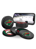 NHL Minnesota Wild Ultimate Fan 3-Pack. Includes: 1 NHL Official Classic Souvenir Hockey Puck / 4 Coasters / 1 Media Device Holder