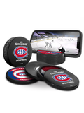 NHL Montreal Canadiens Ultimate Fan 3-Pack. Includes: 1 NHL Official Classic Souvenir Hockey Puck / 4 Coasters / 1 Media Device Holder